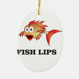 lèvres de poissons ornement ovale en céramique