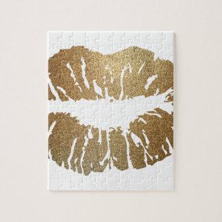 Lèvres de scintillement d'or, style de luxe puzzle