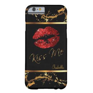 Lèvres de scintillement et motif rouges de marbre coque barely there iPhone 6