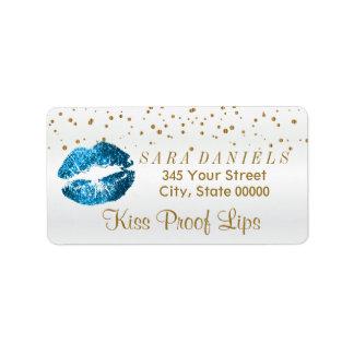 Lèvres d'or de bleu de confettis et de turquoise étiquette d'adresse