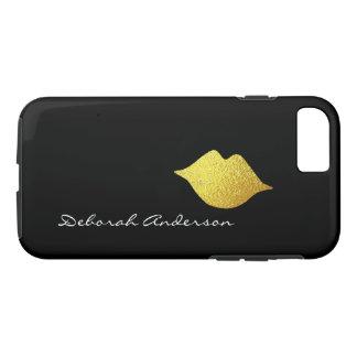 lèvres d'or de faux + noir de nom (style de police coque iPhone 7
