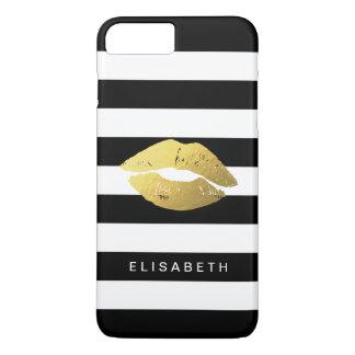 Lèvres élégantes d'or avec les rayures blanches coque iPhone 7 plus