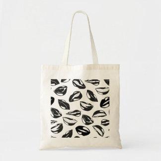 Lèvres noires de motif sac en toile