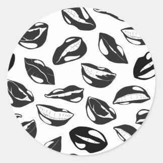 Lèvres noires de motif sticker rond