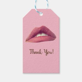 Lèvres roses, étiquettes de cadeau de bouche