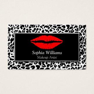 Lèvres rouges de maquilleur noires et guépard cartes de visite