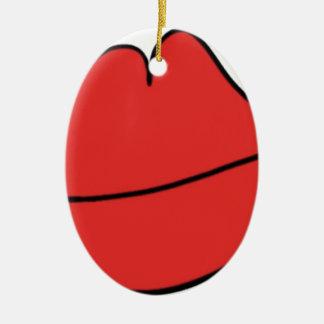 Lèvres rouges ornement ovale en céramique