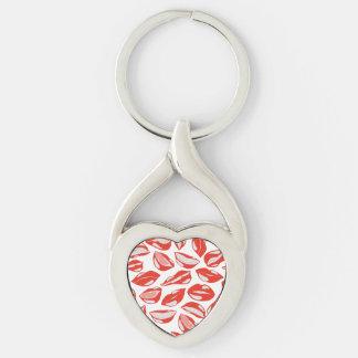 Lèvres rouges prêtes à embrasser porte-clé argenté cœur torsadé