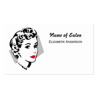 Lèvres rouges vintages de salon de coiffure blanc carte de visite standard