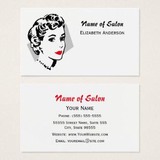 Lèvres rouges vintages de salon de coiffure blanc cartes de visite