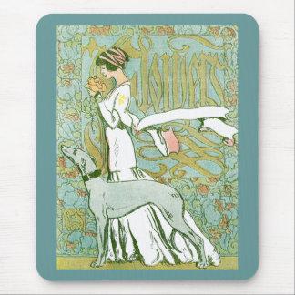 Lévrier et Madame de Nouveau d'art avec la fleur Tapis De Souris