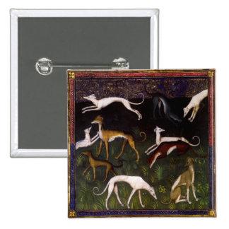 Lévriers médiévaux dans les bois profonds badges
