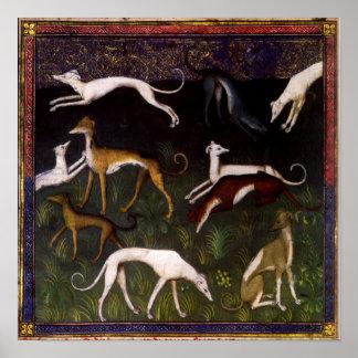 Lévriers médiévaux dans les bois profonds posters