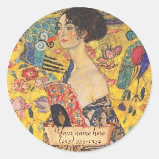 """L'ex-libris de fan de Gustav Klimt """"Madame avec"""" Sticker Rond"""