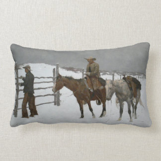 """L'extrémité de Remington """"du cowboy. """" Coussin Rectangle"""
