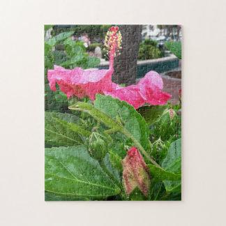 Lézard camouflé au-dessous de photographie rose de puzzle