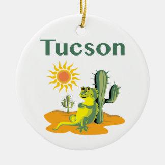 Lézard de Tucson Arizona sous le Saguaro Ornement Rond En Céramique