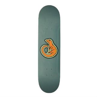 Lézard orange de longue queue avec des taches skateboards personnalisés