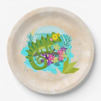 Lézard tropical vert avec des fleurs assiettes en papier