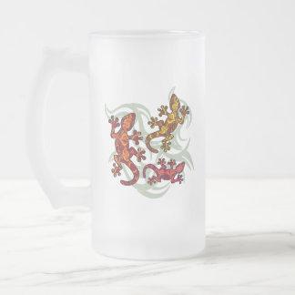 Lézards fleuris chope givrée