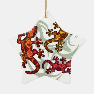 Lézards fleuris ornement étoile en céramique