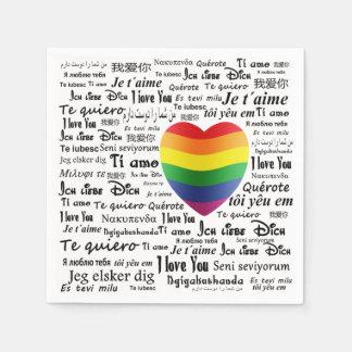 LGBT je t'aime Serviette Jetable