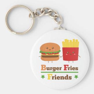 L'hamburger de bande dessinée de Kawaii fait frire Porte-clé Rond