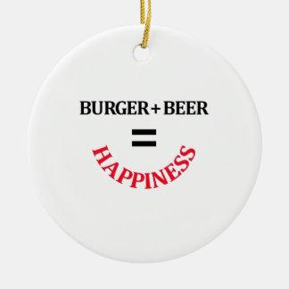 L'hamburger plus la bière égale le bonheur ornement rond en céramique