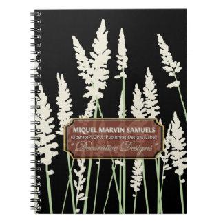 L'herbe fleurit carnet moderne noir de décor