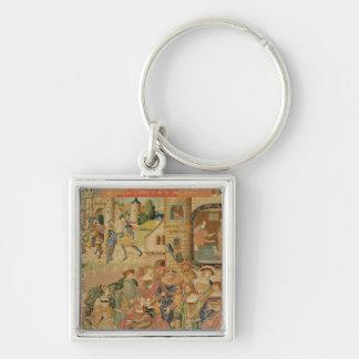 L'histoire de Perseus, 15ème-16ème siècle Porte-clé Carré Argenté