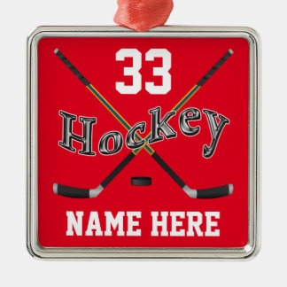 L'hockey PERSONNALISÉ ornemente votre nom et Ornement Carré Argenté