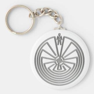 L'homme dans le labyrinthe - argent porte-clé rond