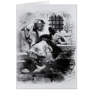 L'homme dans le masque de fer dans sa prison carte de vœux