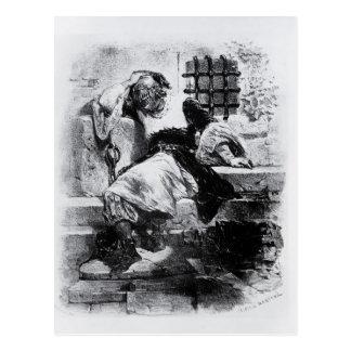 L'homme dans le masque de fer dans sa prison carte postale
