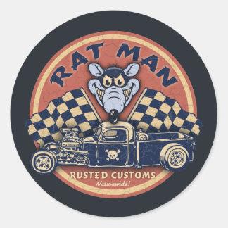 L'homme de rat s'est rouillé des coutumes adhésif rond