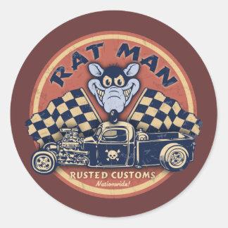 L'homme de rat s'est rouillé des coutumes sticker rond
