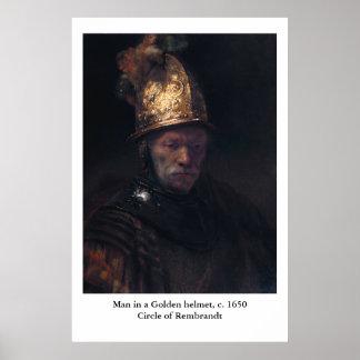 L'homme de Rembrandt dans un casque d'or Posters