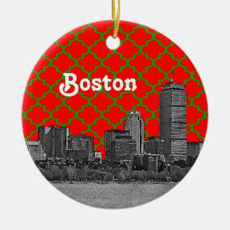 L'horizon de Boston a gravé à l'eau-forte Noël Ornement Rond En Céramique