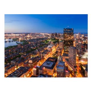 L'horizon de Boston au crépuscule Carte Postale