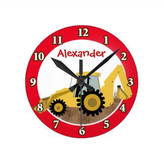 L'horloge de pelle rétro de construction (rouge) a horloge ronde