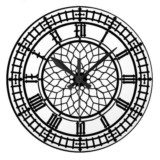 L 39 horloge murale de l 39 amant de big ben grande horloge ronde zazzle for Pendule murale grande taille
