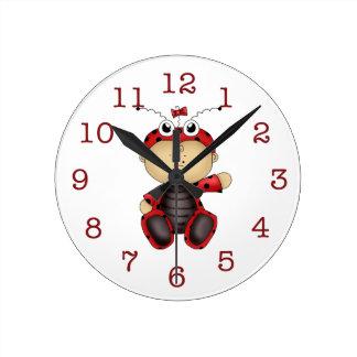 L'horloge murale des Coccinelle-Enfants de bébé Horloge Ronde
