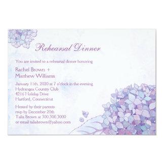 L'hortensia fleurit dîner de répétition de mariage carton d'invitation  12,7 cm x 17,78 cm
