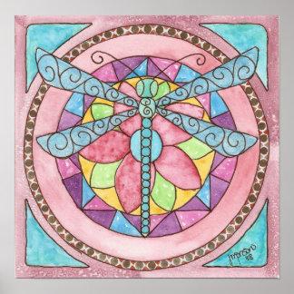 libellule de verre coloré poster