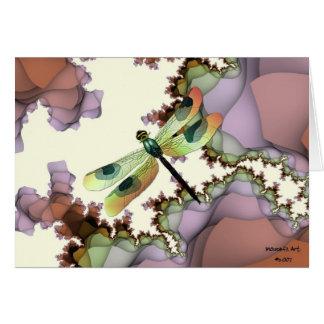 Libellule et carte d'anniversaire de fractales