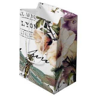 Libellule et fleurs sac cadeau moyen