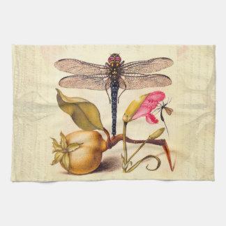 Libellule, poire, oeillet, et insecte linges de cuisine