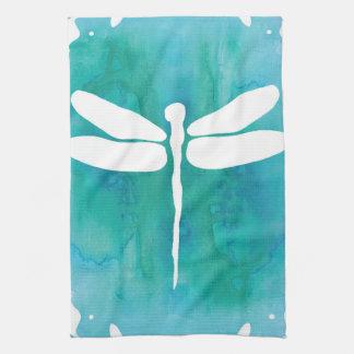 Libellules blanches de bleu d'Aqua d'aquarelle de Serviettes Pour Les Mains