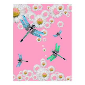 libellules bleues et roses roses carte postale