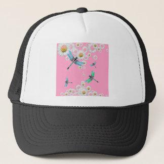 libellules bleues et roses roses casquette trucker